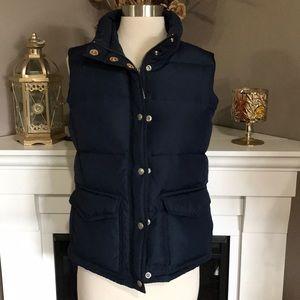 J. Crew Navy Full Zip Down Puffer Vest